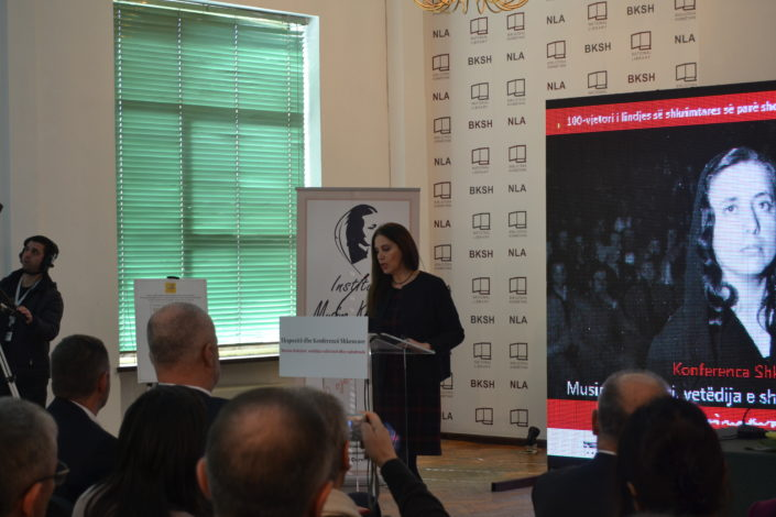 Minister of Culture Ms Mirela Kumbaro holding her speech