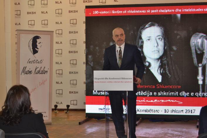 The Prime Minister of Albania, Mr Edi Rama holding his speech